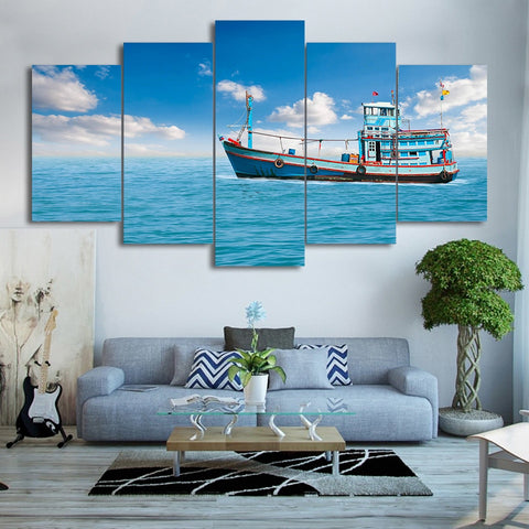Fishing Boat Blue Sea 5 Piece Canvas