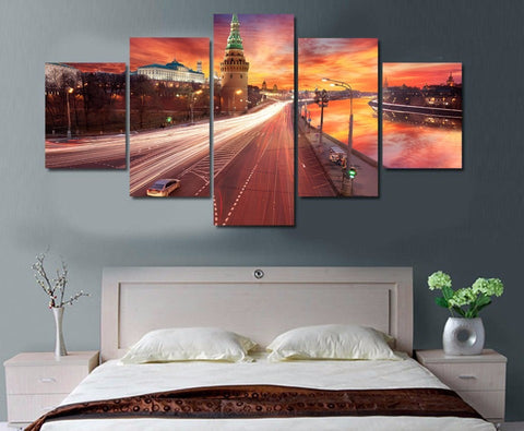 Red Sunset Over Moscow 5 Piece Canvas
