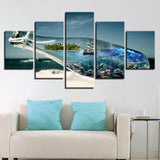 Sea Wave Sailboat Bottle 5 Piece Canvas