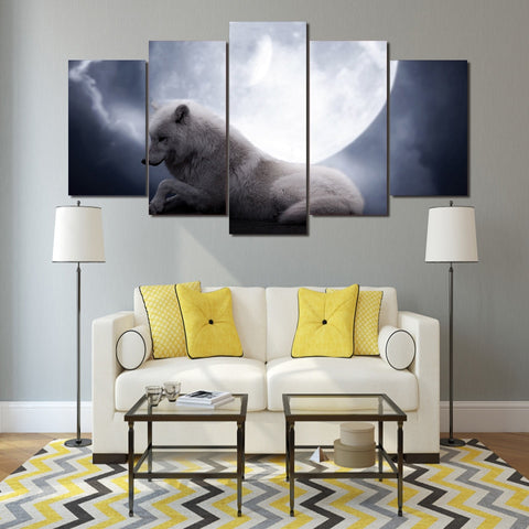White Wolf Resting 5 Piece Canvas