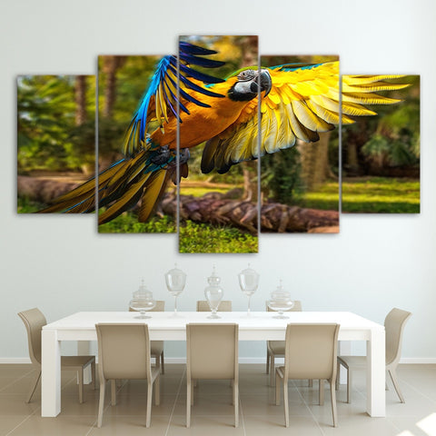 Flying Parrot 5 Piece Canvas