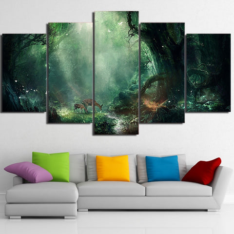 Deer Forest Ray 5 Piece Canvas