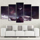 Planet Saturn & Starry Sky 5 Piece Canvas