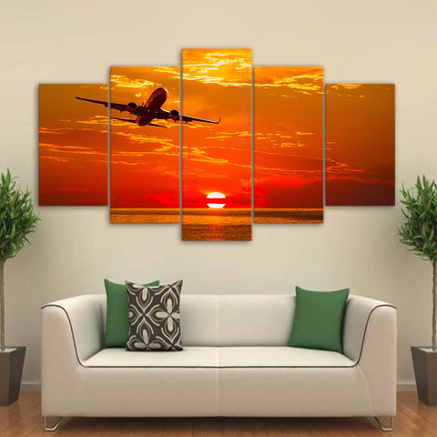Airplane Flying in Sunset 5 Piece Canvas