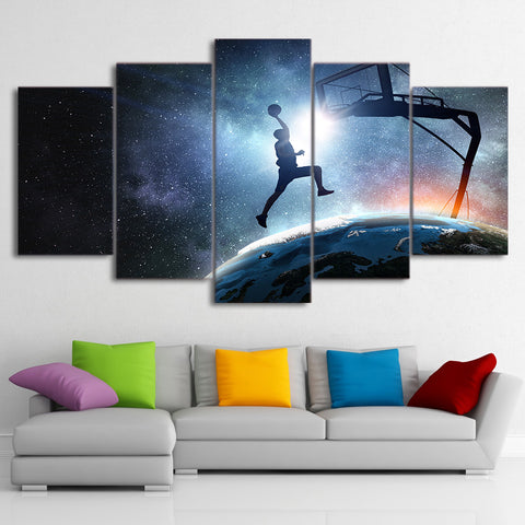 Playing Basketball Starry Sky 5 Pieces Canvas