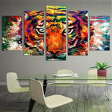 Abstract Tiger 5 Piece Canvas