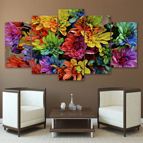 Colorful Chrysanthemum 5 Piece Canvas