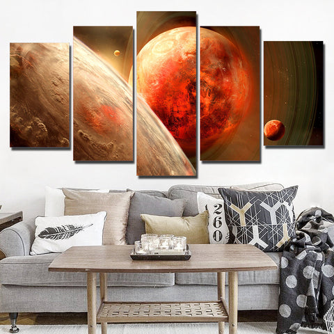 Planets & Moon 5 Piece Canvas