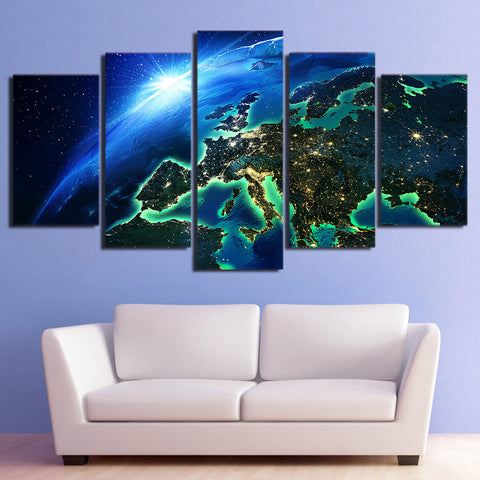 Earth Blue Horizon 5 Piece Canvas