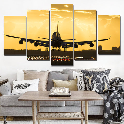Airplane with Golden Sunset 5 Piece Canvas