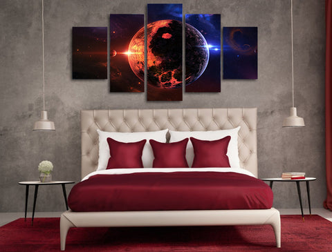 Day & Night on Earth 5 Piece Canvas