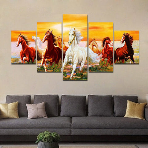Group Horses Running 5 Piece Canvas