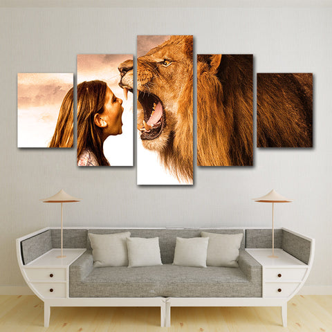 Lady and Beast Lion 5 Piece Canvas