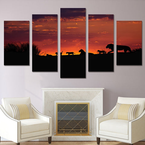 African Lion Family Sunset 5 Piece Canvas