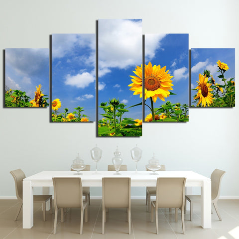 Sunflower Under Blue Sky 5 Piece Canvas