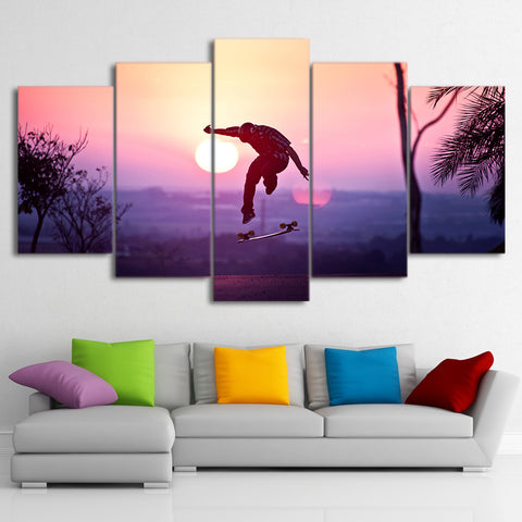Skateboarding in Sunset 5 Piece Canvas