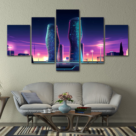 Purple Light Modern Building 5 Piece Canvas
