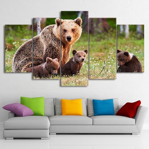 Bear Family 5 Piece Canvas