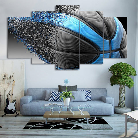 Basketball Black and Blue Disintegration 5 Piece Canvas