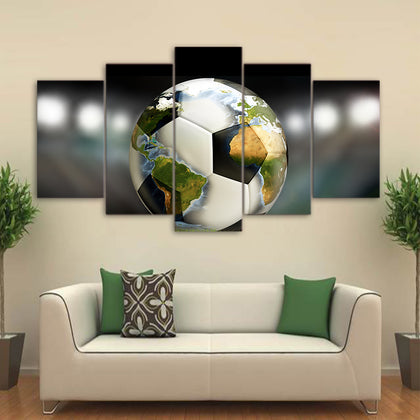 Soccer Ball World Map 5 Piece Canvas