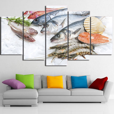 Fresh Seafood 5 Piece Canvas