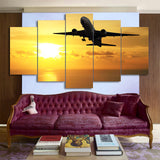 Flying Airplane in Golden Sunset 5 Piece Canvas