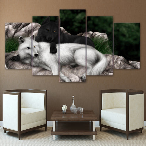 Black and White Wolf Hugging 5 Piece Canvas