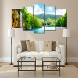 Waterfall Sea Lake Deep 5 Piece Canvas