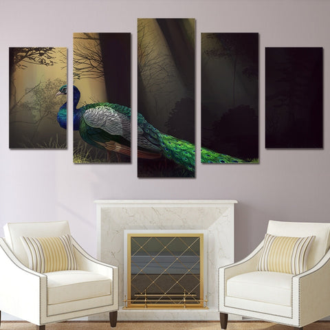 Forest Peacock 5 Piece Canvas