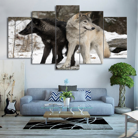 Couple Snow Wolf 5 Piece Canvas