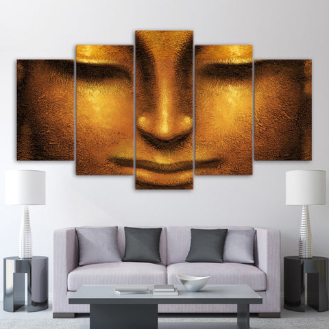 Golden Buddha Face 5 Piece Canvas
