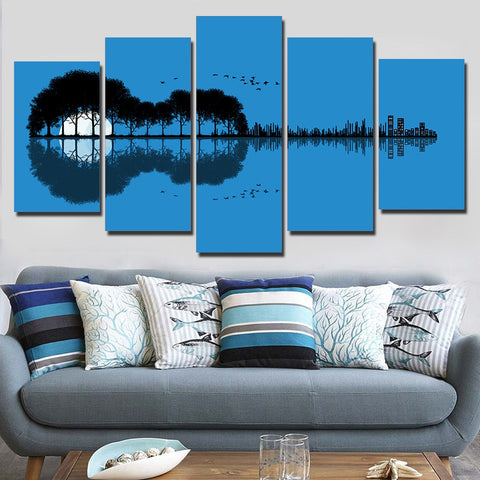 Tree Guitar Reflection 5 Piece Canvas