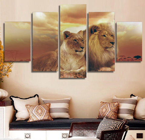 Female Male Lions 5 Piece Canvas