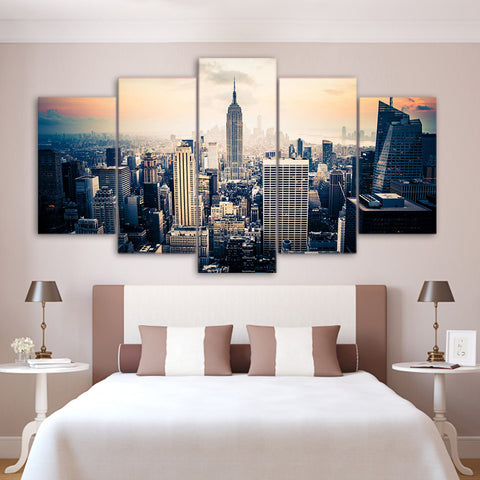 Skyscraper Overview 5 Piece Canvas