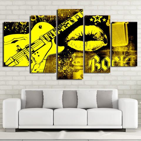 Guitar and Lip 5 Piece Canvas