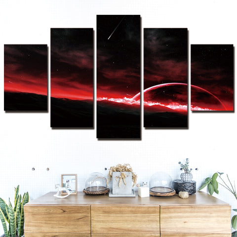 Red Sky, Planet & Space 5 Piece Canvas