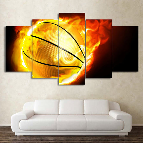 Flame Basketball 5 Piece Canvas