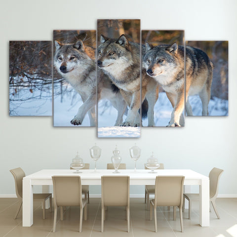 Hunting Wolf Group 5 Piece Canvas