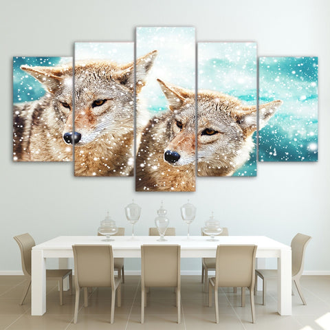 Snow Flakes Wolves 5 Piece Canvas