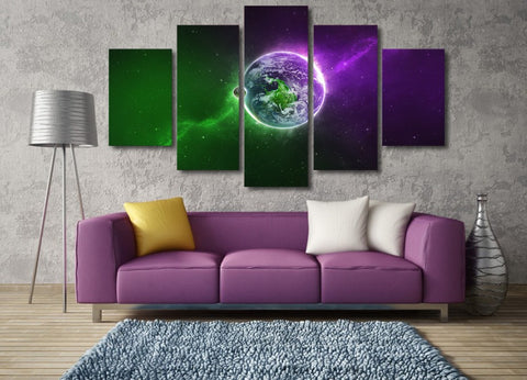 Green and Purple Planet 5 Piece Canvas