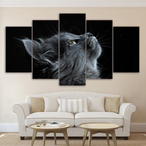Gray Cat 5 Piece Canvas
