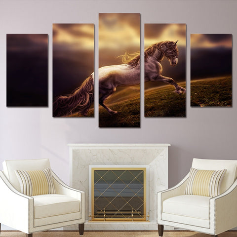 Horse Climbing Mountain 5 Piece Canvas