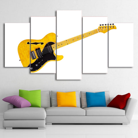 Yellow Electric Guitar 5 Piece Canvas