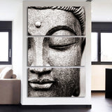Buddha Face in Gray 3 Piece Canvas