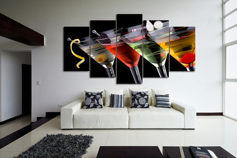 Cocktail Drinks 5 Piece Canvas