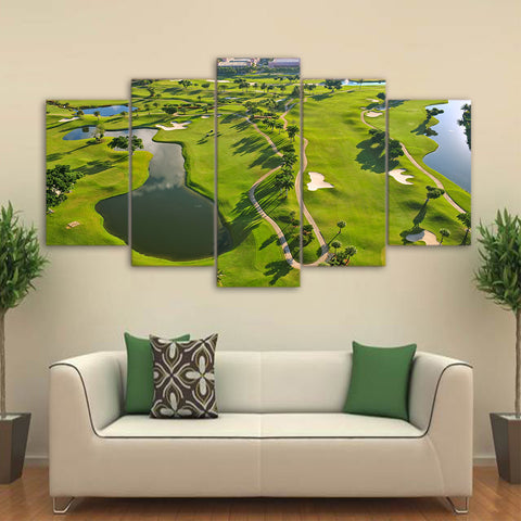 Top View Golf Course 5 Piece Canvas