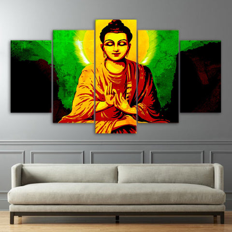 Abstract Colorful Buddha 5 Piece Canvas