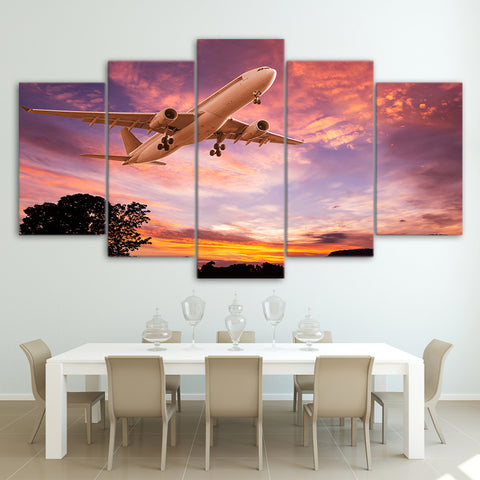 Sunset Sky and Airplane 5 Piece Canvas