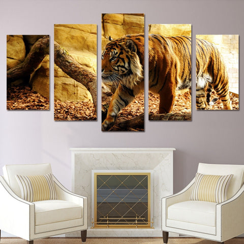 Hunting Tiger 5 Piece Canvas