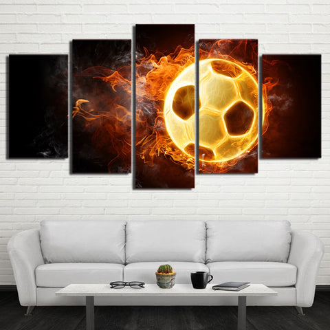Burning Hot Football 5 Pieces Canvas